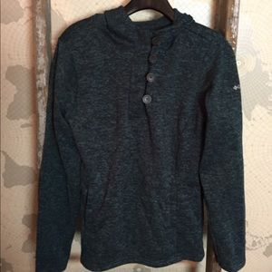 Columbia green/ black marbled pullover L EUC